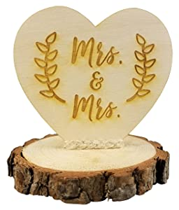 Rustic Wood Mrs. & Mrs. Gay Lesbian Wedding Cake Topper