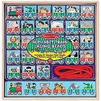 Cuentas de tren del alfabeto de Melissa & Doug — 27 cuentas de tren de madera, 6 tarjetas de patrón, y 1 encaje