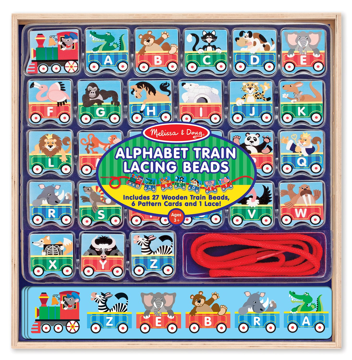 Melissa Doug Alphabet Train Lacing Beads 27 Wooden Train Beads 6 Pattern Cards and 1 Lace