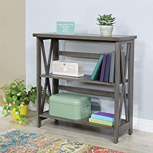 OSP Home Furnishings Hillsboro 3-Shelf Bookcase, Grey Wash