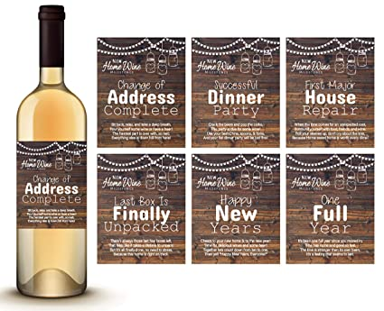 rustic wood housewarming gifts 6 new home milestone wine labels set 1 cylinder wood