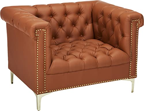 Iconic Home Winston PU Leather Modern Contemporary Button Tufted with Gold Nail head Trim Goldtone Metal Y-leg Club Chair, Brown