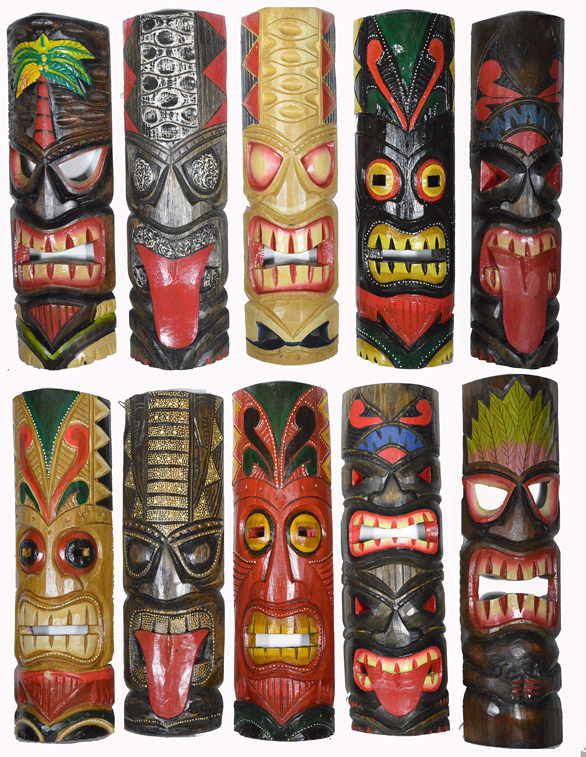 20'' Large Set of 10 Polynesian Hawaiian Tiki Style Wall Masks by WorldBazzar