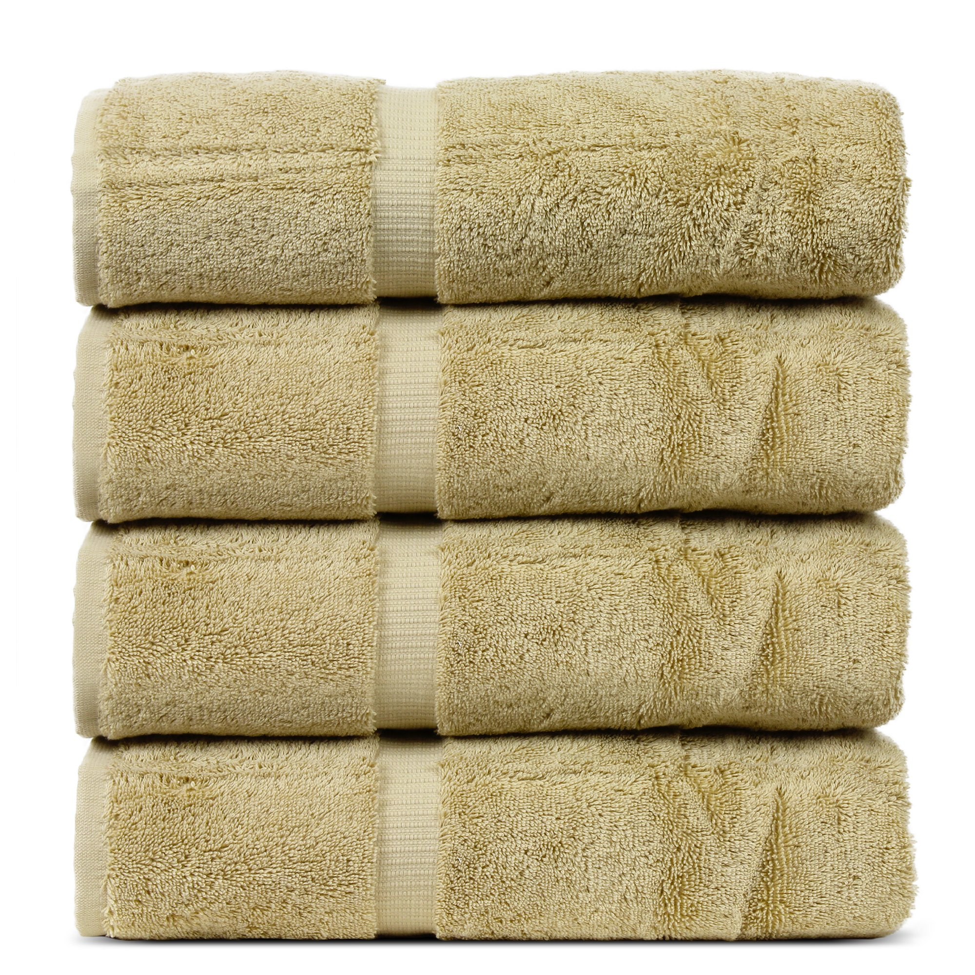 BC BARE COTTON Luxury Hotel & Spa Towel Turkish Cotton Bath Towels - Driftwood - Dobby Border - Set of 4