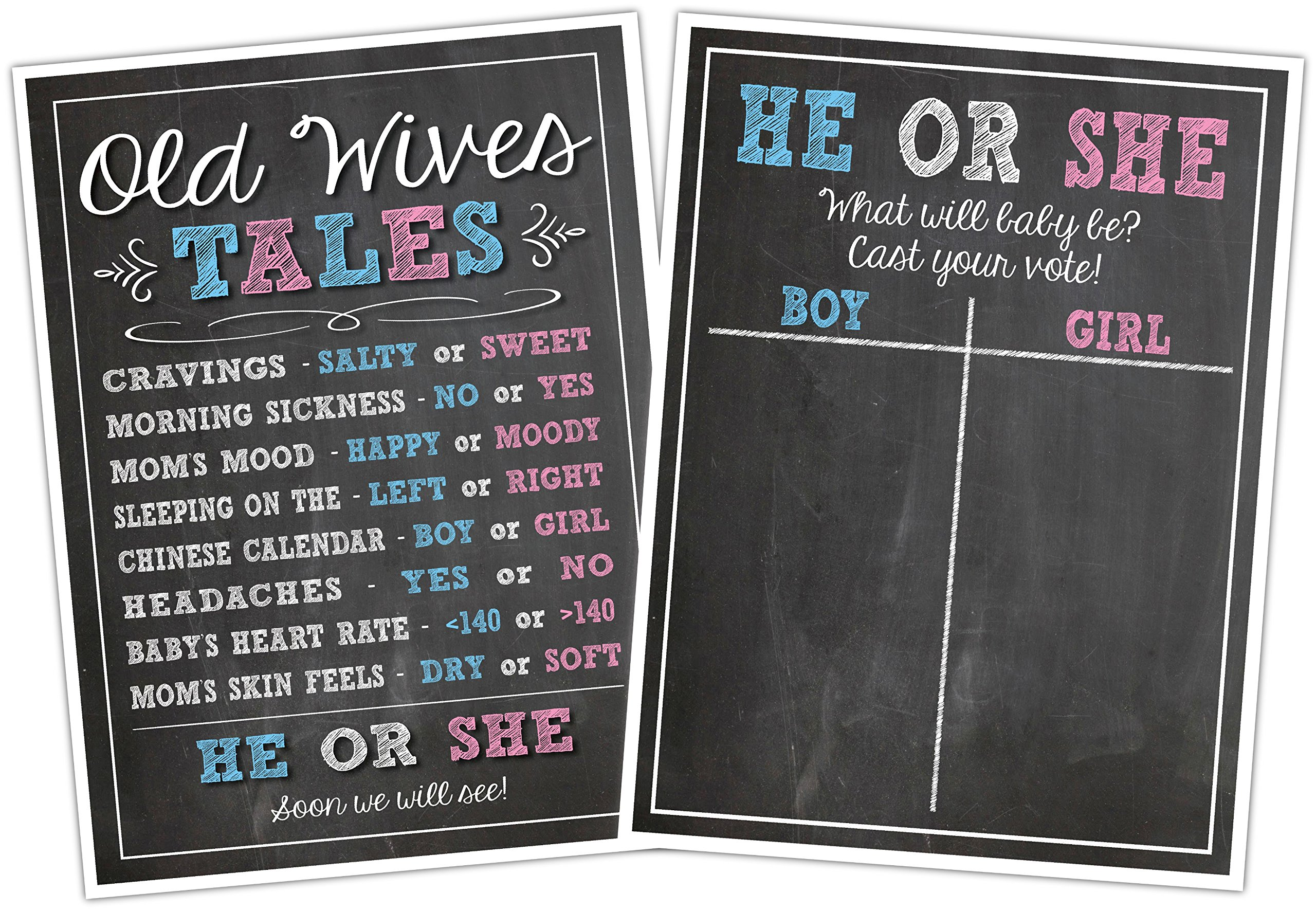 Katie Doodle GR003 Premium Baby Old Wives Tales Cast Your Vote Poster Set, Pregnancy Gender Reveal Party Decoration for Boys and Girls, 12x18 inches, Black by Katie Doodle