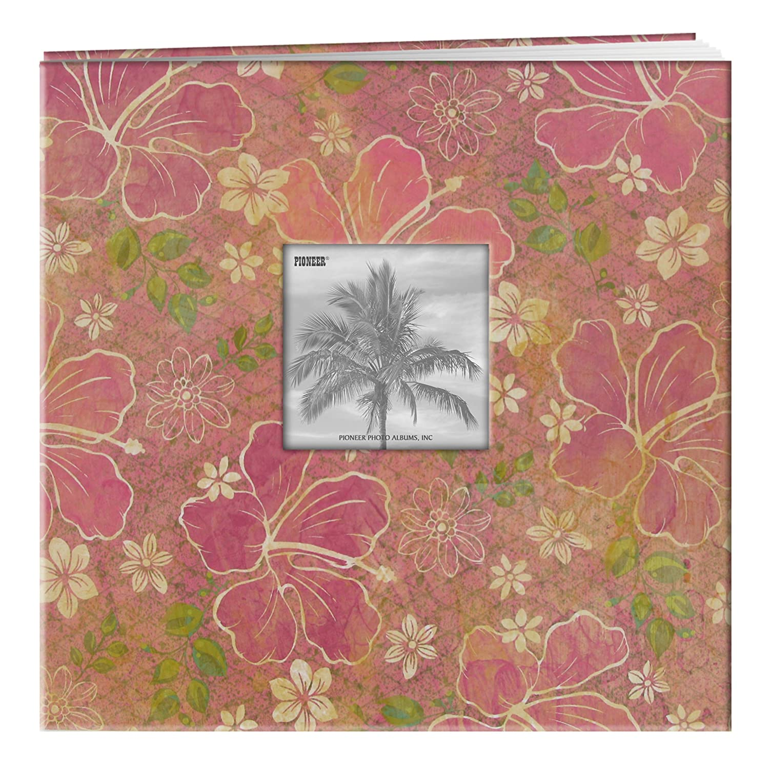 Pioneer 12 Inch by 12 Inch Postbound Frame Front Memory Book, Hibiscus Design Tropical