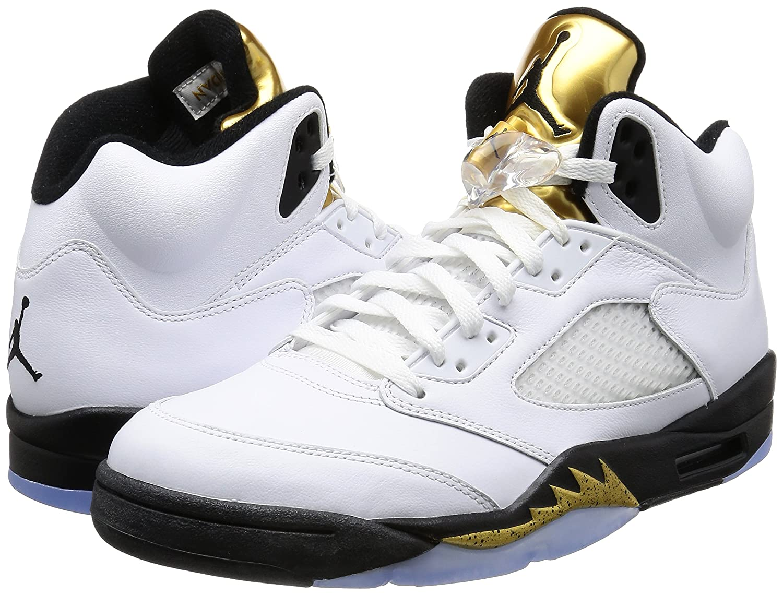 premium selection aae8f cf771 Amazon.com   Nike Mens AIR Jordan 5 Retro, White Black-MTLC Gold Coin, 7.5    Basketball