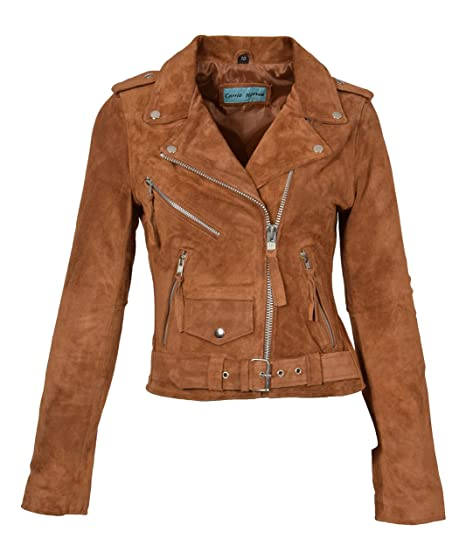 Ladies Real Suede Leather Biker Jacket Slim Fit Retro Brando Style Stella Tan (X-