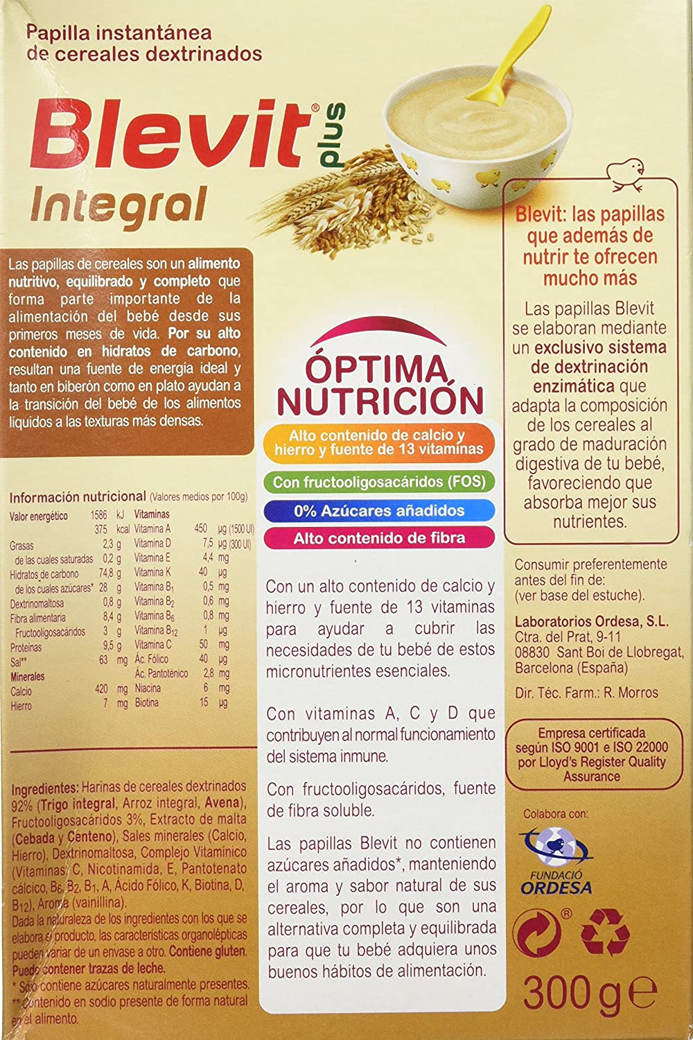 Blevit Plus Integral Cereales - 300 gr