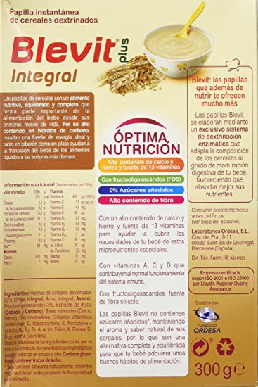 Blevit Plus Integral Cereales - 300 gr: Amazon.es: Alimentación y bebidas