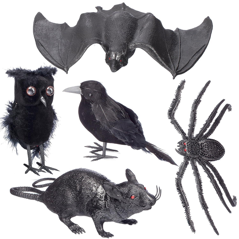amazon com halloween home decoration 5 pc set u2013 1 black feathered