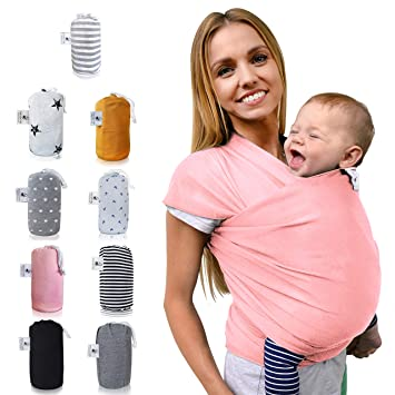elastisches Babytragetuch f/ür Fr/üh- und Neugeborene inkl Baby Wrap Carrier Anleitung Fastique Kids/® Tragetuch Flamingo Pink