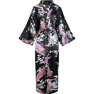 BABEYOND Silk Satin Kimono Dressing Gown Peacock Kimono Robe For Women Silk  Wedding Girl s Bonding Party 6f596395f