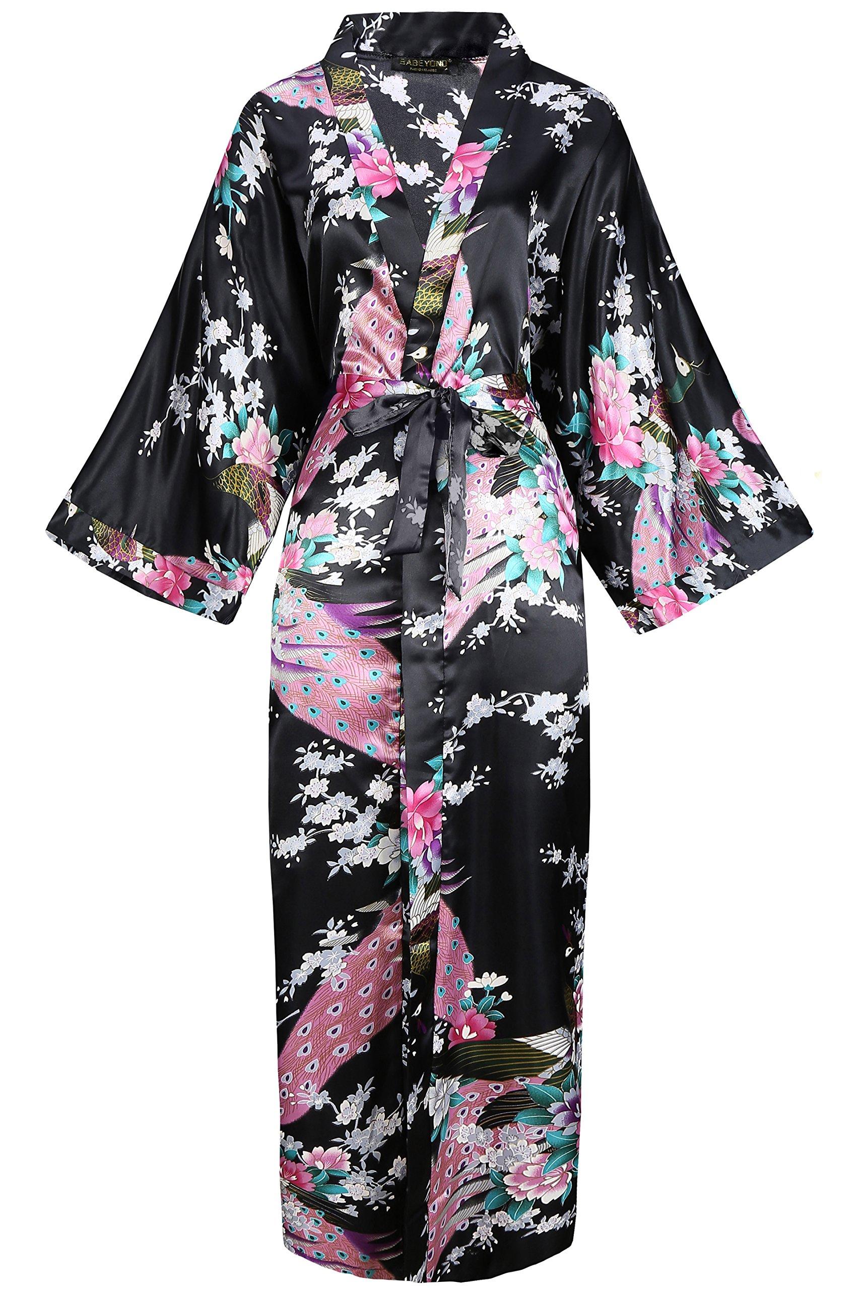 BABEYOND Kimono de Seda Vestido de Satén Kimono Pavo Real Novia Pijamas de Seda Bata de Satén (Negro) product image