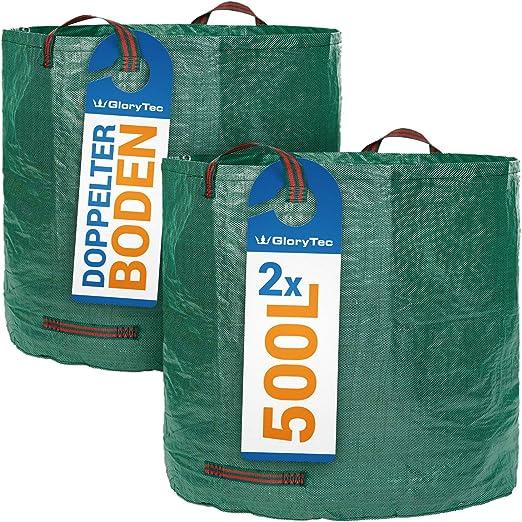2 Sacos de jardín de GloryTec de 500 Litros cada uno – Set Premium de bolsas de