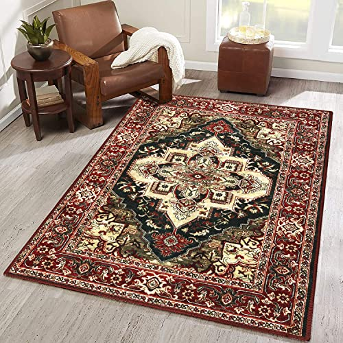 LEEVAN Faux Wool Area Rug 3 x 5 ft Traditional Rectangle Throw Runner Rug Non-Slip Backing Soft Wool Floor Carpet