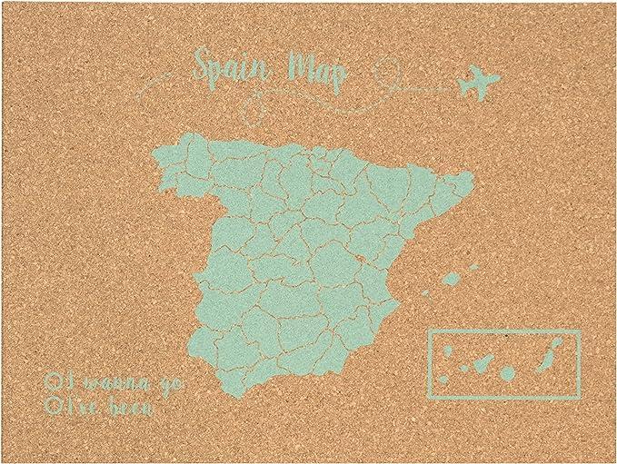 Decowood - Mapa de Corcho España, Pequeño, para Marcar Tus Viajes y Colgar en la Pared, Verde Aqua - 60x45cm: Amazon.es: Hogar