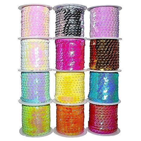 12 Pack Rollos de Lentejuelas (4m) - Carretes de Lentejuelas Brillantes, Colores Variados para Manualidades con Lentejuelas - Patrones para Vestidos, ...