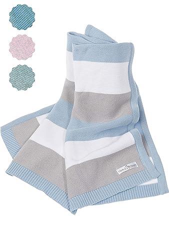 Babydecke 100/% Ökotex Baumwolle Strickdecke Baby Strick gestrickt Kuscheldecke