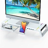 Soporte de Monitor para Escritorio RGB Gaming Lights 4 USB 3.0, TopMate Soporte de Pantalla de Computadora Plegable con…