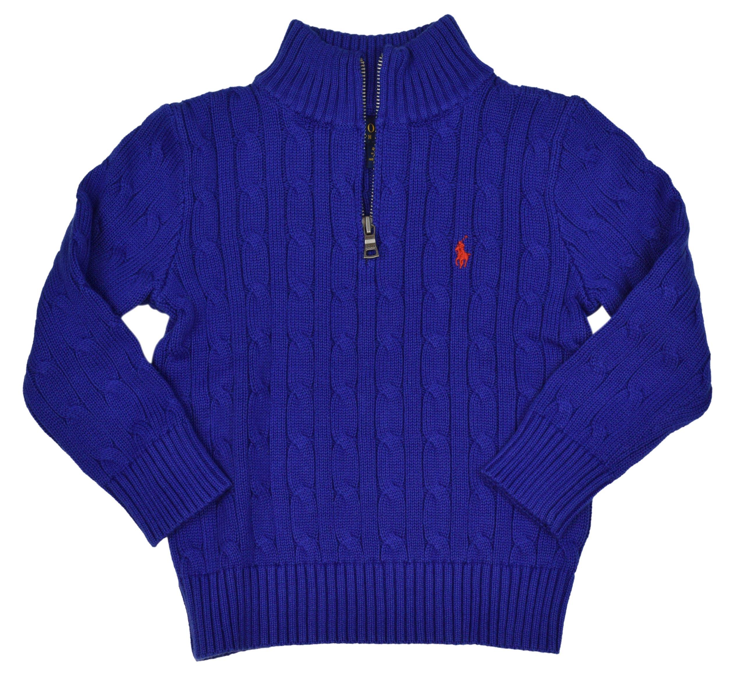 Polo Ralph Lauren Little Boys' Cable Knit 1/2 Zip Sweater - 2/2T - Bue