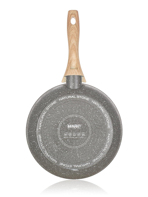 Banquet - Sartén forjada de Piedra Natural, Aluminio, Granito Gris, 24,5 x 45 x 9 cm: Amazon.es: Hogar