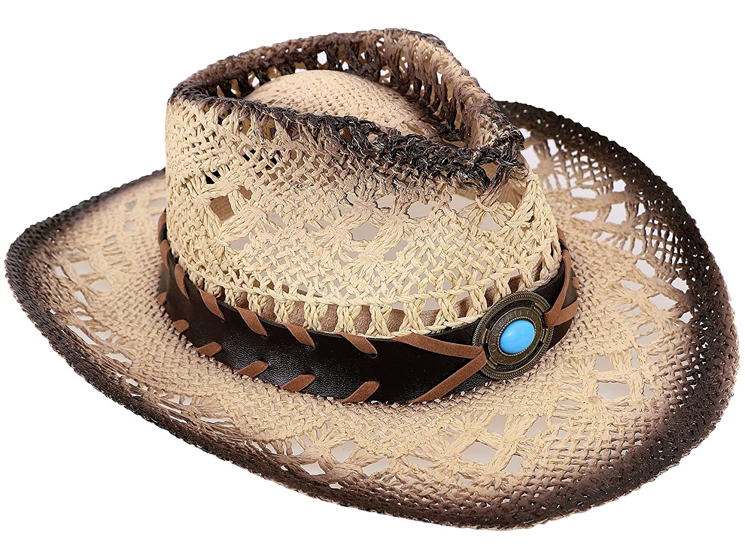d25d5058a3608 AbbyLexi Straw Cowboy Cowgirl Hat Wide Brim Beach Sun Hats for Childs