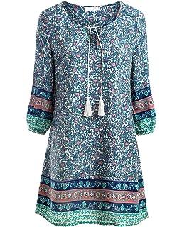 baishe nggt Mujer túnica playa vestido Mini vestido vintage Bohemian Ropa
