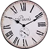 NIKKY HOME Vintage French Style Round Wooden Wall Clock 12 inch White