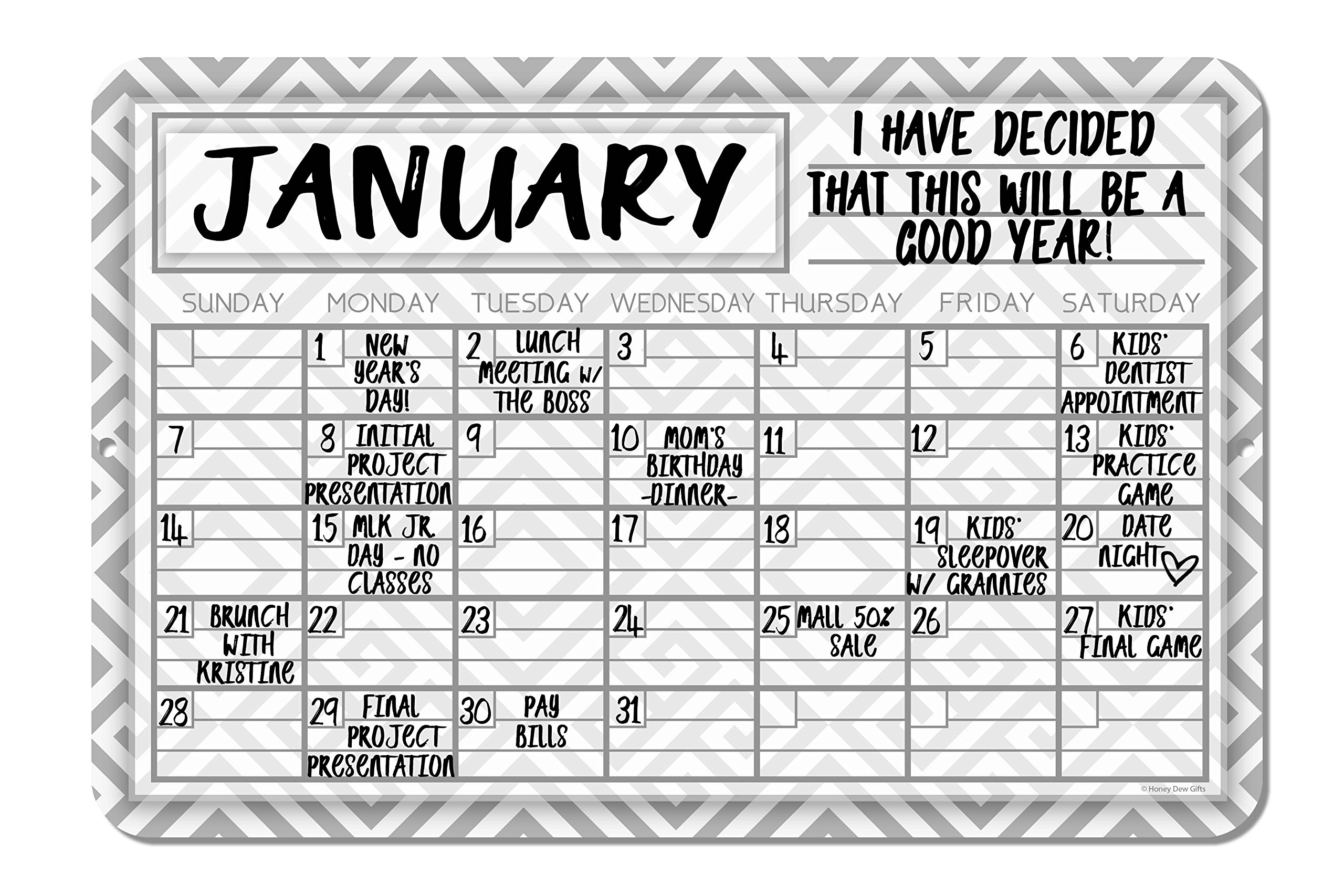 Gray Geometric Pattern Decorative Wall Calendar Planning Board - Reusable Easy Clean