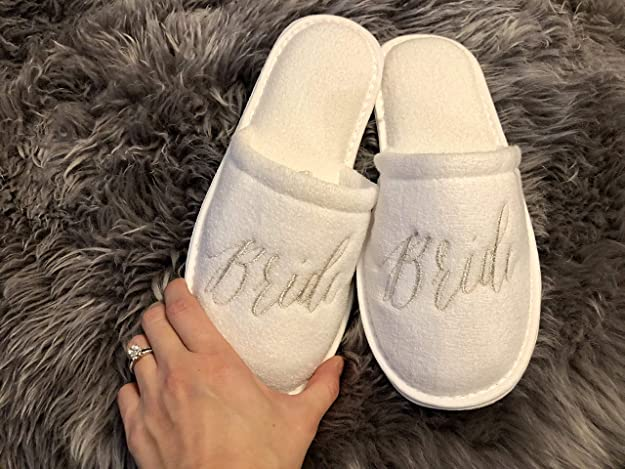 5d4a30611f Wedding Slippers - Bride, Groom, Maid of Honor, Bridesmaid, Mother of The  Bride, Mother of The Groom