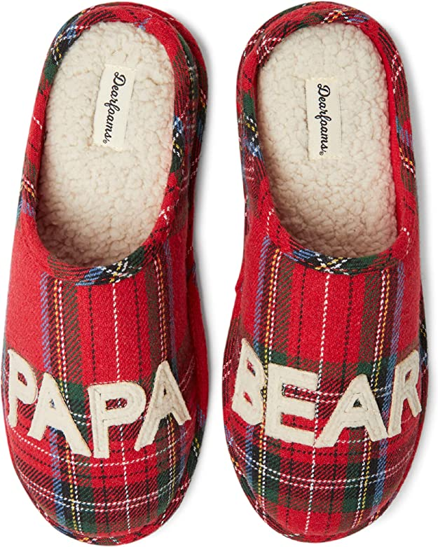 Dearfoams Men's Family Collection Papa Bear Plaid Clog Slipper