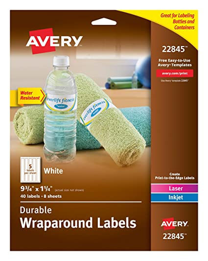 Avery Durable Wraparound Water Bottle Labels 1 4 X 9 3