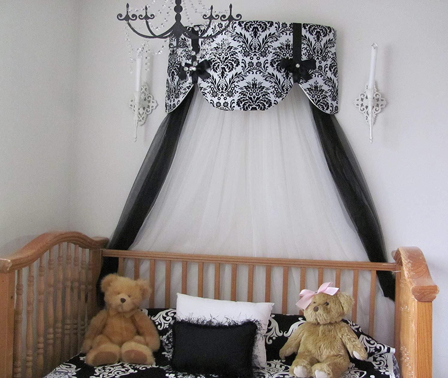 Amazon.com Crib Canopy Nursery Bed Crown Cornice Teester Swag Suzette Bows Damask Bedroom FrEE Curtains Baby Girls Custom Design So Zoey Boutique SALE ... & Amazon.com: Crib Canopy Nursery Bed Crown Cornice Teester Swag ...