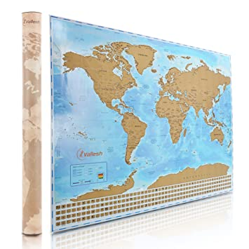 Amazoncom Vallesh Scratch Off World Map Poster with Scratcher