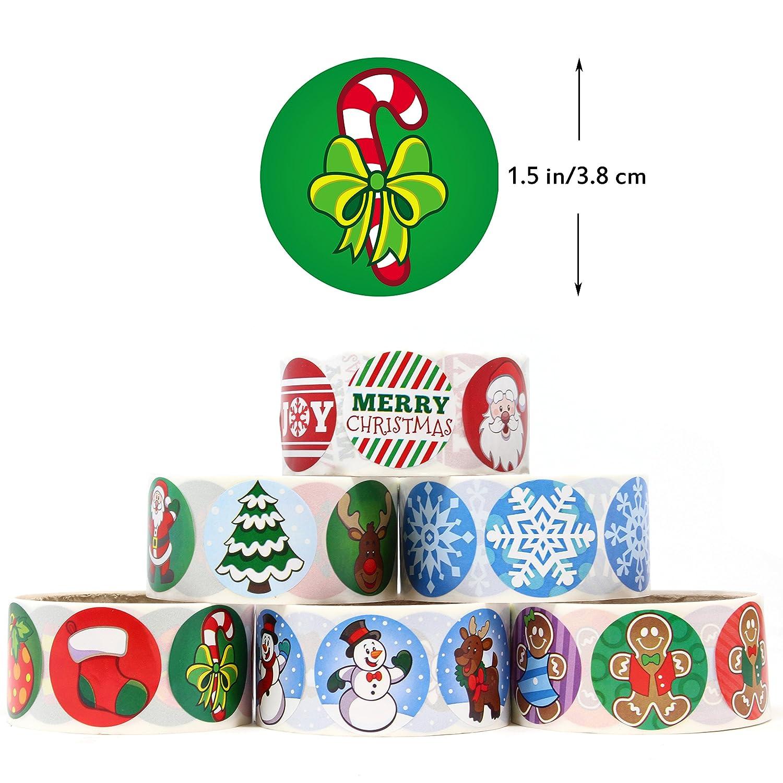 Joyin Toy 600 Pieces Assorted Christmas Sticker Rolls; Christmas Scrapbook Stickers Self Adhesive Shapes for Christmas Craft Supplies School Classroom Prizes Party Favors Stocking Stuffers Joyin Inc