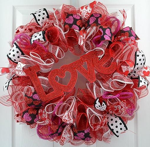 Amazon Com Valentine Wreath Valentine S Day Wreath Love Mesh
