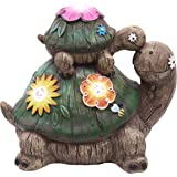 TERESA'S COLLECTIONS 6.7 Inch Garden Statues Turtle Figurines, Solar Powered Garden Lights for Fairy Garden Fall Outdoor Pati