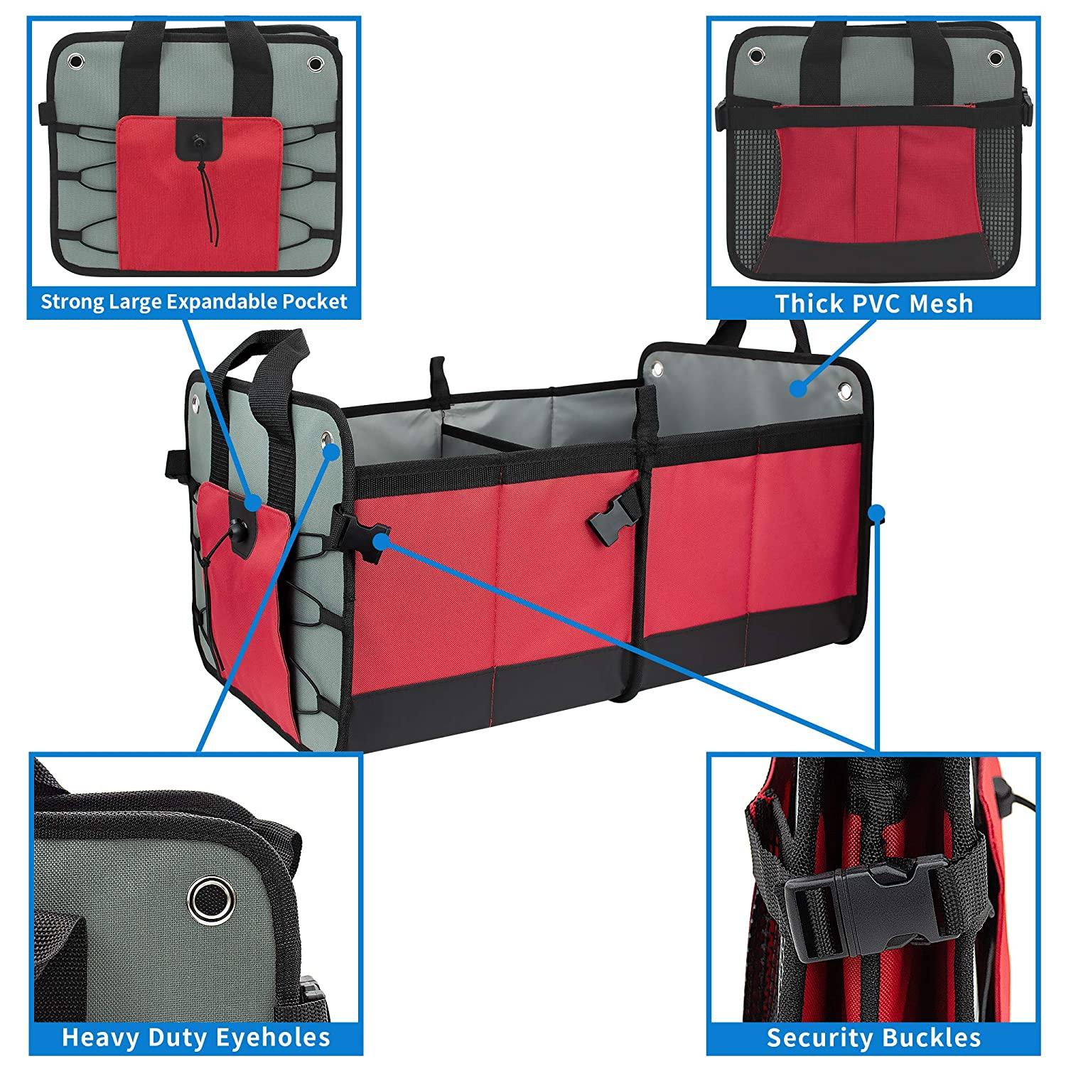 FIXSMITH-Car-Trunk-Organizer,Auto Trunk Organizer,RED,Collapsible Cargo Storage Container,Multipurpose,Portable Grocery Storage Basket with Two Large Compartments for SUV,Truck,Vehicle,Home /& Office.