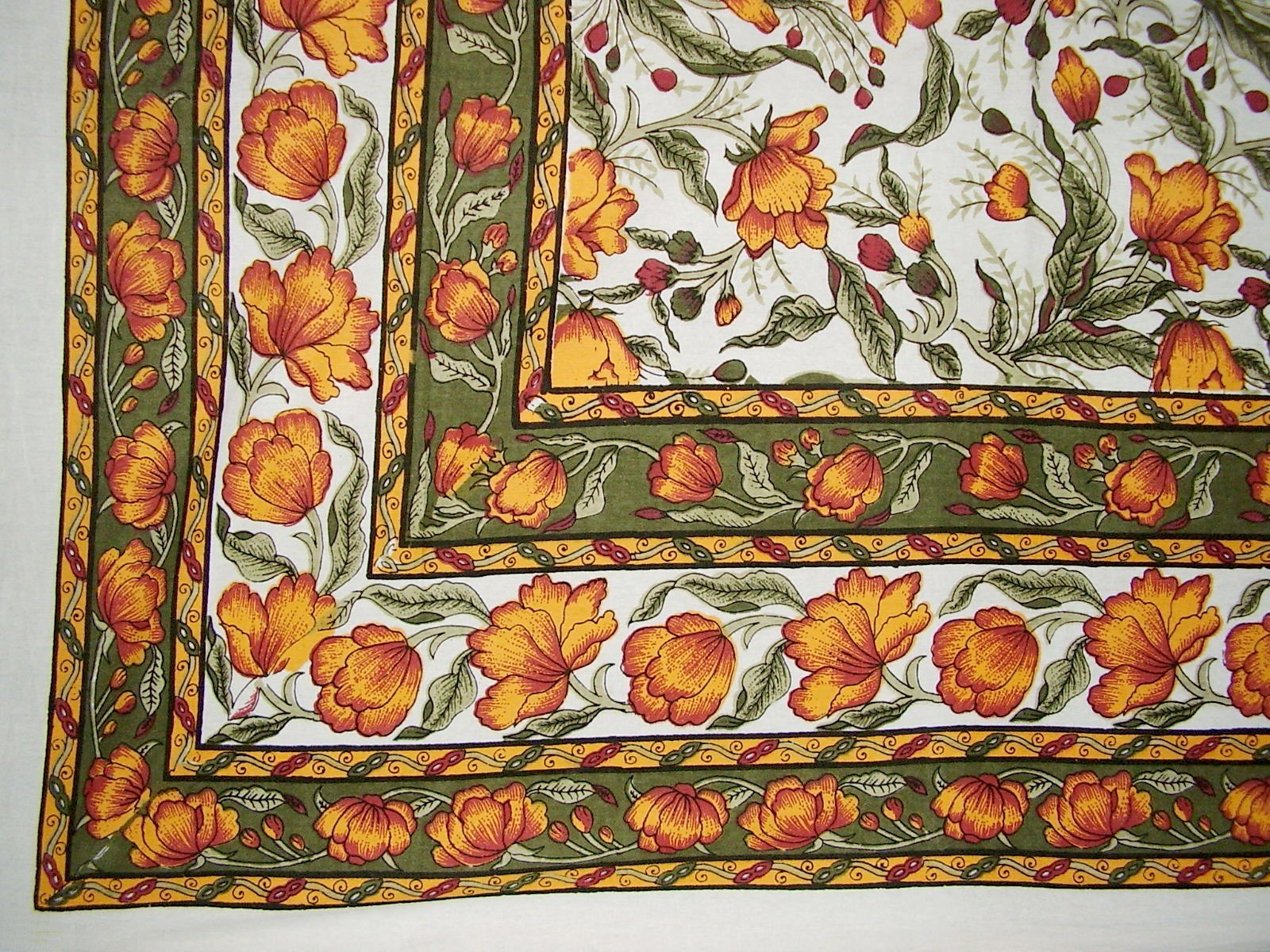 French Floral Tapestry Cotton Bedspread 104'' x 88'' Full Amber Green