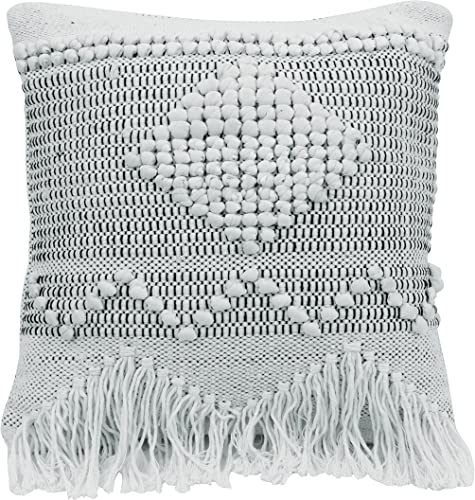 Bloomingville Square Textured Cotton Pillow, Ivory, Grey