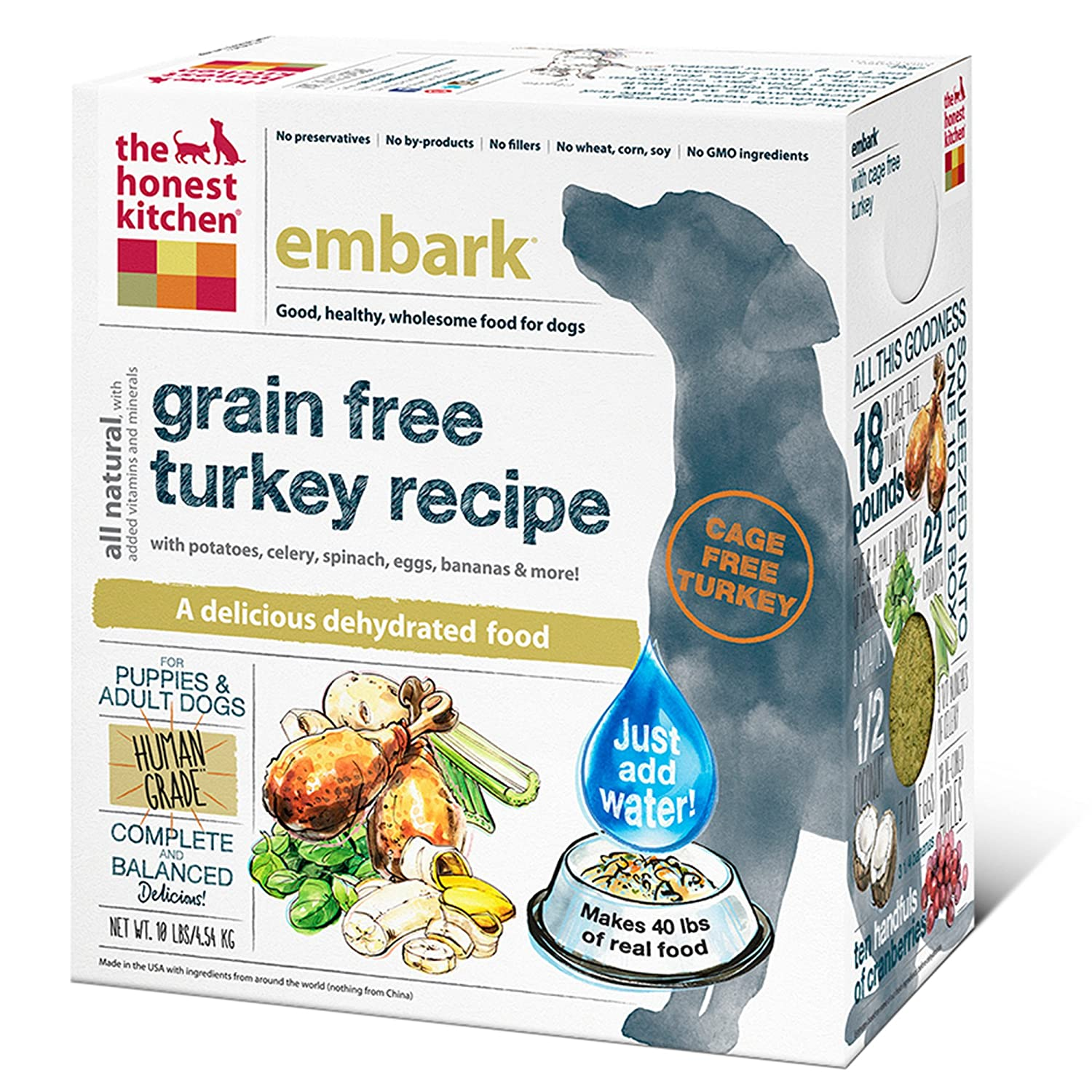attractive The Honest Kitchen Dog Food Recall #3: Amazon.com: The Honest Kitchen Embark: Natural Human Grade Dehydrated Dog Food, Grain Free Turkey, 10 lbs (Makes 40 lbs): Pet Supplies