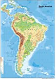 South America Physical Map - Paper Laminated - A1 Size 59.4 x 84.1 cm