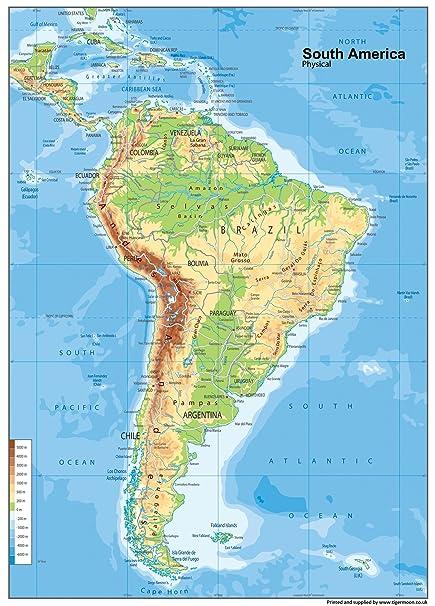 Sudamerika Physikalische Karte Vinyl A1 Grosse 59 4 X 84 1 Cm