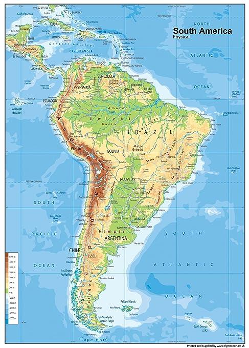 Mappa Del Sud America Fisico Carta Plastificata A0 Dimensioni