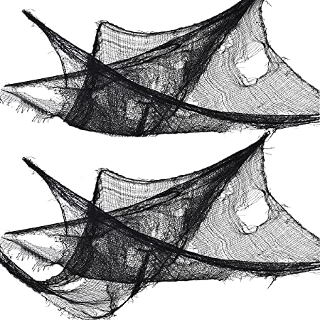 Black Freaky Fabric Loose Weave Net Scene Halloween Prop Decoration Decor NEW