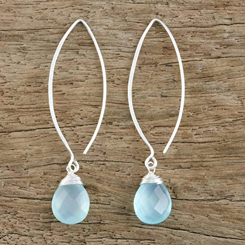 NOVICA .925 Sterling Silver and Pear-Shaped Blue Chalcedony Dangle Earrings, Sublime