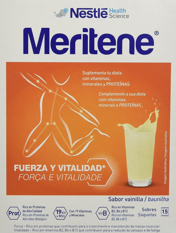 Nestlé Meritene - Complemento alimenticio, sabor vainilla, 15 sobres: Amazon.es: Salud y cuidado personal