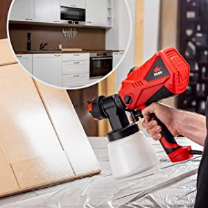 NoCry 1200ml/min Electric Paint Sprayer - 5A/600W Motor, 100 DIN/s Max Viscosity, Adjustable Air and Paint Flow Controls, 33.814fl.oz Container, 3 Spray Patterns; 4 Nozzles Included (Color: Red & Black)