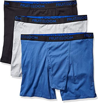 Colors May Vary Fruit of the Loom Mens 5-Pack Soft Stretch Knit Boxer